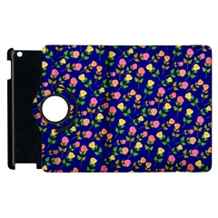 Flowers Roses Floral Flowery Blue Background Apple Ipad 3/4 Flip 360 Case by Simbadda