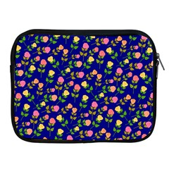 Flowers Roses Floral Flowery Blue Background Apple Ipad 2/3/4 Zipper Cases by Simbadda