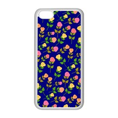 Flowers Roses Floral Flowery Blue Background Apple Iphone 5c Seamless Case (white)