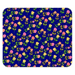 Flowers Roses Floral Flowery Blue Background Double Sided Flano Blanket (small)  by Simbadda