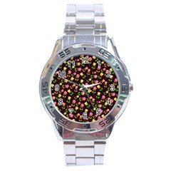 Flowers Roses Floral Flowery Stainless Steel Analogue Watch