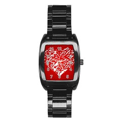 Heart Design Love Red Stainless Steel Barrel Watch
