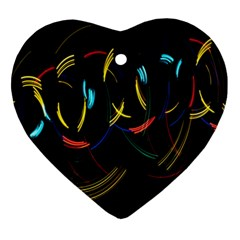 Yellow Blue Red Arcs Light Ornament (heart) by Alisyart