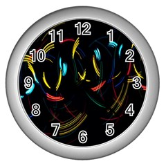 Yellow Blue Red Arcs Light Wall Clocks (silver)  by Alisyart