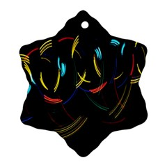 Yellow Blue Red Arcs Light Ornament (snowflake) by Alisyart