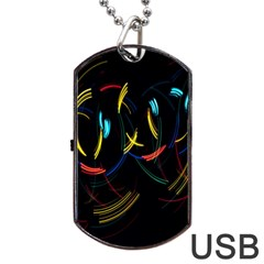 Yellow Blue Red Arcs Light Dog Tag Usb Flash (one Side)