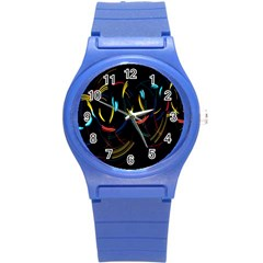 Yellow Blue Red Arcs Light Round Plastic Sport Watch (s)