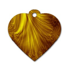 Flower Gold Hair Dog Tag Heart (two Sides)