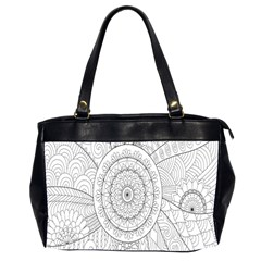 Flower Rose Flowering Sunflower Black Office Handbags (2 Sides)