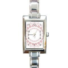 Floral Frame Pink Red Star Leaf Flower Rectangle Italian Charm Watch by Alisyart