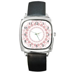 Floral Frame Pink Red Star Leaf Flower Square Metal Watch