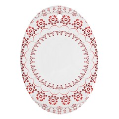 Floral Frame Pink Red Star Leaf Flower Oval Ornament (two Sides) by Alisyart