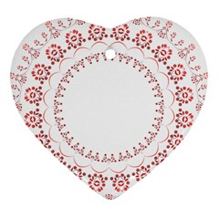 Floral Frame Pink Red Star Leaf Flower Heart Ornament (two Sides) by Alisyart