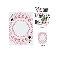 Floral Frame Pink Red Star Leaf Flower Playing Cards 54 (mini)  by Alisyart