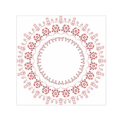 Floral Frame Pink Red Star Leaf Flower Small Satin Scarf (square)