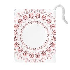 Floral Frame Pink Red Star Leaf Flower Drawstring Pouches (extra Large) by Alisyart