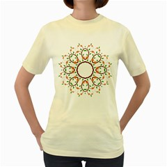 Frame Floral Tree Flower Leaf Star Circle Women s Yellow T Shirt