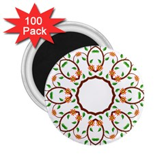 Frame Floral Tree Flower Leaf Star Circle 2 25  Magnets (100 Pack)