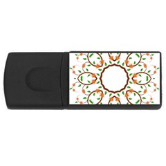Frame Floral Tree Flower Leaf Star Circle Usb Flash Drive Rectangular (4 Gb)
