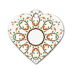 Frame Floral Tree Flower Leaf Star Circle Dog Tag Heart (one Side) by Alisyart