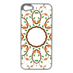 Frame Floral Tree Flower Leaf Star Circle Apple Iphone 5 Case (silver) by Alisyart