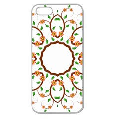Frame Floral Tree Flower Leaf Star Circle Apple Seamless Iphone 5 Case (clear)