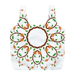 Frame Floral Tree Flower Leaf Star Circle Full Print Recycle Bags (l)