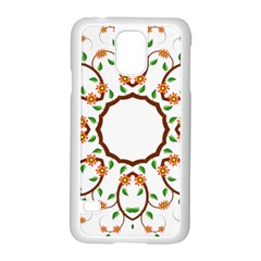 Frame Floral Tree Flower Leaf Star Circle Samsung Galaxy S5 Case (white)
