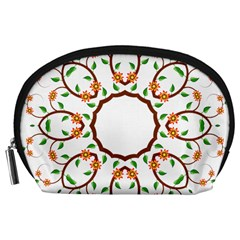 Frame Floral Tree Flower Leaf Star Circle Accessory Pouches (large)
