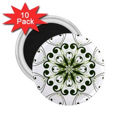 Frame Flourish Flower Green Star 2 25  Magnets (10 Pack)