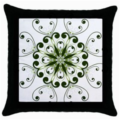 Frame Flourish Flower Green Star Throw Pillow Case (black) by Alisyart