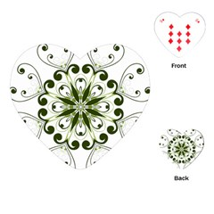 Frame Flourish Flower Green Star Playing Cards (heart)  by Alisyart
