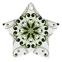 Frame Flourish Flower Green Star Star Ornament (two Sides)