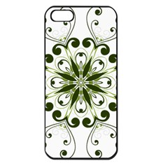 Frame Flourish Flower Green Star Apple Iphone 5 Seamless Case (black)