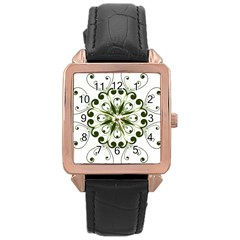 Frame Flourish Flower Green Star Rose Gold Leather Watch