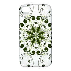 Frame Flourish Flower Green Star Apple Iphone 4/4s Hardshell Case With Stand
