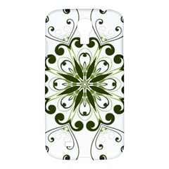 Frame Flourish Flower Green Star Samsung Galaxy S4 I9500/i9505 Hardshell Case by Alisyart