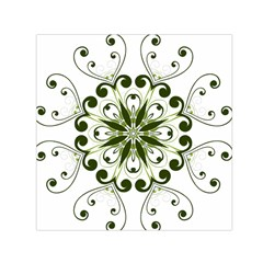 Frame Flourish Flower Green Star Small Satin Scarf (square)