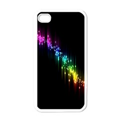 Illustrations Black Colorful Line Purple Yellow Pink Apple Iphone 4 Case (white)