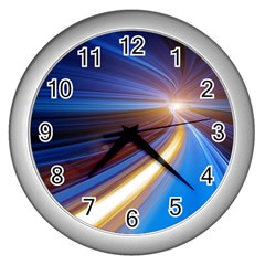Glow Motion Lines Light Blue Gold Wall Clocks (silver)