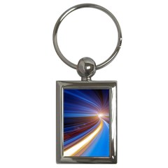 Glow Motion Lines Light Blue Gold Key Chains (rectangle)  by Alisyart