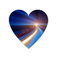 Glow Motion Lines Light Blue Gold Heart Magnet