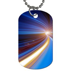 Glow Motion Lines Light Blue Gold Dog Tag (one Side)