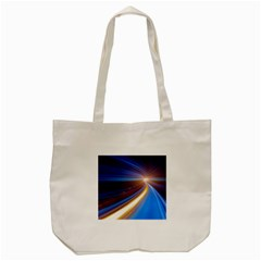 Glow Motion Lines Light Blue Gold Tote Bag (cream)