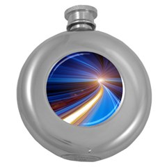 Glow Motion Lines Light Blue Gold Round Hip Flask (5 Oz)