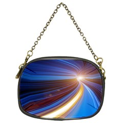 Glow Motion Lines Light Blue Gold Chain Purses (one Side)  by Alisyart