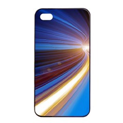 Glow Motion Lines Light Blue Gold Apple Iphone 4/4s Seamless Case (black)