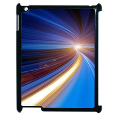 Glow Motion Lines Light Blue Gold Apple Ipad 2 Case (black) by Alisyart