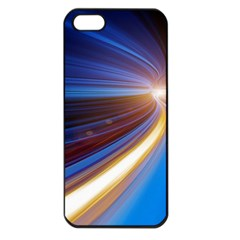 Glow Motion Lines Light Blue Gold Apple Iphone 5 Seamless Case (black)