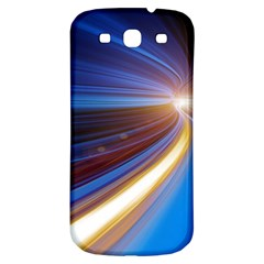 Glow Motion Lines Light Blue Gold Samsung Galaxy S3 S Iii Classic Hardshell Back Case